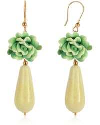 House of Murano - Green Rose Murano Glass Drop Earrings - Lyst
