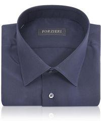 FORZIERI - Blue Pure Silk Dress Shirt - Lyst