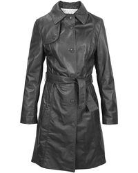 FORZIERI - Soft Black Leather Belted Trench Coat - Lyst
