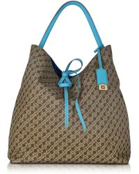 Gherardini - Alma Millerighe And Turquoise Fabric Reversible Large Hobo Bag - Lyst