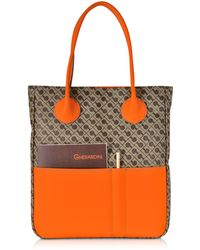 Gherardini - Julieta Millerighe Fabric And Mandarin Eco Leather Top Zip Tote Bag - Lyst