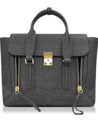 3.1 Phillip Lim Pashli Ash And Charcoal Leather Medium Satchel - Gray