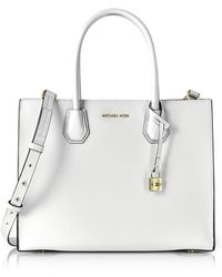 c27a9f2f9777 Michael Kors - Mercer Large Optic White Pebble Leather Convertible Tote Bag  - Lyst