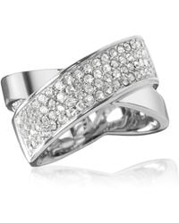 Michael Kors - Silver Stainless Steel And Crystal Pave Women's Ring - Lyst
