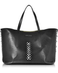 Jimmy Choo - Plimco Rock Black Leather Tote Bag With Punk Studs - Lyst