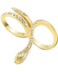 Just Cavalli | Just Medusa Two Fingers Golden Steel Ring W/crystals | Lyst