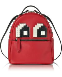 Les Petits Joueurs - Baby Mick Eyes Red Leather Backpack - Lyst