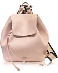 N°21 - Nude Leather Backpack W/canvas Shoulder Straps - Lyst