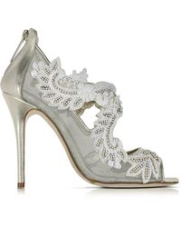 Oscar de la Renta - Ambria Light Gold Metallic Nappa W/embroidery Mesh High Heel Sandals - Lyst