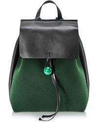 Corto Moltedo Rose Green Felt And Black Leather Backpack - Blue
