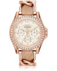 Fossil - Chronograph Gwynn Rose Goldtone Bracelet Watch - Lyst