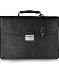 Pineider City Chic Black Leather Briefcase