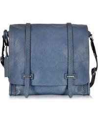 The Bridge - Ascott Blue Leather Large Messenger Bag - Lyst