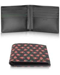 Paul Smith - Men's Black Leather Strawberry Skull Print Billfold Wallet - Lyst