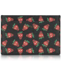 Paul Smith - Black Leather Strawberry Skull Print Men's Card Holder - Lyst