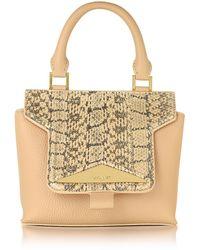 Vionnet - Mosaic 20 Foie Gras Beige Ayers & Leather Mini Satchel Bag W/shoulder Strap - Lyst