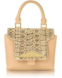 Vionnet - Mosaic 20 Foie Gras Beige Ayers & Leather Mini Satchel Bag W/shoulder Strap - Lyst