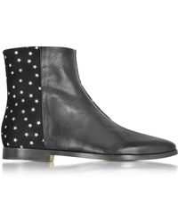 Zoe Lee - Creola Black Leather And Suede Bots W/silver Stars - Lyst