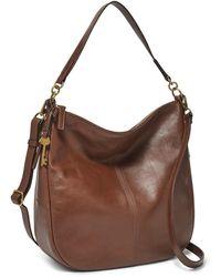Fossil Jolie Leather Hobo Handbag - Brown