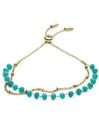 Fossil Bracelet en acier inoxydable bleu turquoise Modern Meadows -Doré