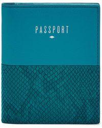 Fossil Étui pour passeport -Bleu