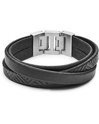 Fossil Bracelet en cuir noir texturé -Argenté