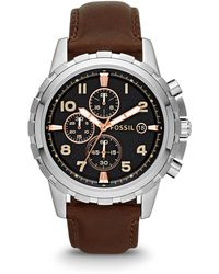 Fossil - Dean Chronograph Brown Leather Watch - Lyst