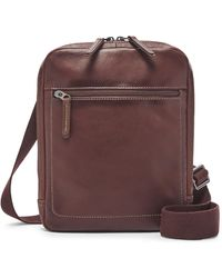 Fossil Haskel Leather Courier Case - Brown