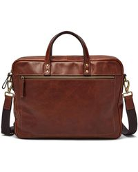 Fossil Haskell Leather Workbag Briefcase - Brown
