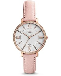 Fossil - Women's Jacqueline Blush Leather Strap Watch 36mm - Lyst