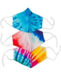Fossil Pack Of 3 Tie-dye Unisex Face Masks - Blue