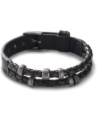 Fossil Bracelet en cuir noir -Noir Argenté