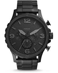 Fossil Men's Chronograph Nate Black-tone Stainless Steel Bracelet Watch 50mm Jr1401 - Grey