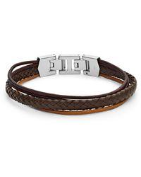 Fossil Bracelet multi-rangs en cuir brun -Marron