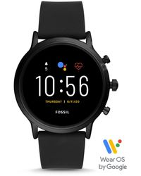 Fossil Smartwatch The Carlyle HR 5. Generation Silikon Schwarz