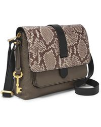 Fossil Kinley Small Crossbody Handbags Taupe Snake/black