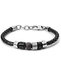 Fossil Rondelle Black Leather Bracelet - Stainless Steel Black