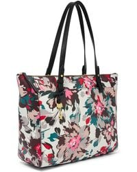 Fossil Rachel Tote With Zipper Handbags Pink Floral