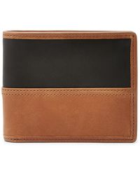 Fossil Tate Rfid Bifold With Flip Id - Brown