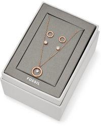 Fossil Coffret cadeau avec clous d'oreilles et collier en acier doré rose -Doré rose - Multicolore