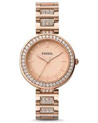 Fossil Karli Three-hand Rose Gold-tone Stainless Steel Watch - Metallic