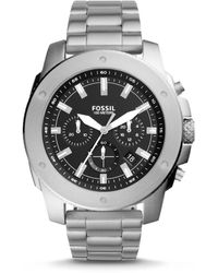 Fossil Mega Machine Chronograph Stainless Steel Watch - Metallic