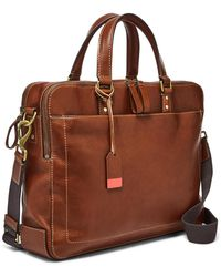 Fossil Defender Double Zip Workbag - Brown