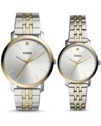 Fossil Coffret cadeau avec montres Lux Luther à trois aiguilles pour Elle et Lui en acier inoxydable bicolore -Argenté/doré - Multicolore