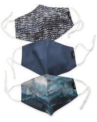 Fossil Pack Of 3 Blue Multi-print Unisex Face Masks