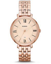 Fossil - Women's Jacqueline Rose Gold-tone Stainless Steel Bracelet Watch 36mm Es3435 - Lyst