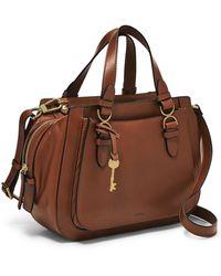 Fossil Brooke Leather Satchel Purse Handbag - Brown