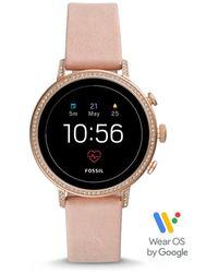 Fossil Smartwatch Venture HR 4. Generation Leder Rosa - Mehrfarbig