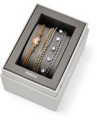 Fossil Coffret cadeau avec bracelet en acier tricolore -Multicolore