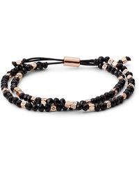 Fossil Black Beaded Leather Slider Jewelry Joa00544791